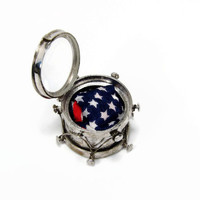Drum Charm with American Flag, Sterling Silver, Vintage Charm, Signed JMF, Mechanical Charm, Mother of Pearl, Charm Opens, Vintage Jewelry