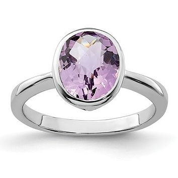 Sterling Silver Oval Bezel Set Rose de France Quartz Pink Amethyst Ring