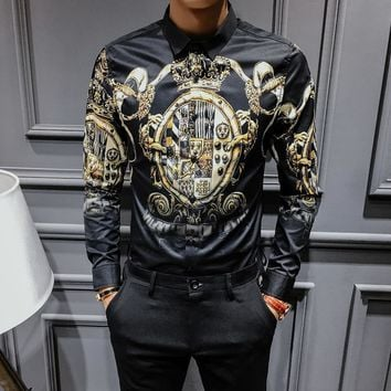 New Baroque Slim Fit Party Club Shirt Men Camisa Homem Male Long Sleeve Shirt Oversize 4XL FREE SHIPPING