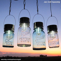 Mason Jar Lighting Hanging Mason Jar Solar Light LIDS 4 Outdoor Gardening Upcycled Lights for Ball Canning Fruit Jam Jars, Lids Only No Jars