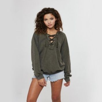 Project Social T   Abby Lace Up Hoodie   Army Green