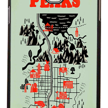 Twin Peaks Welcome To Twin Peaks Map Samsung Galaxy Note 3 Cases - Hard Plastic, Rubber Case
