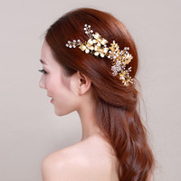 3PCS Luxurious Gold color Hair Comb+Hair Sticks Crystal Hair Jewelry festival Gifts Bride Hair pins Wedding Bridal Accessories