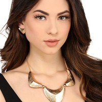 Gold Triple Pyramid Necklace Set