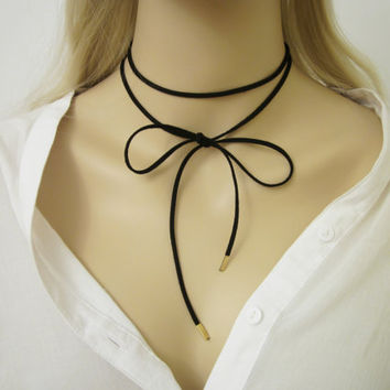 Suede Wrap Choker / Suede Wrap Necklacer / Leather Cord Choker / Black Wrap Choker / Black Tie Cord  Choker / Trendy Necklace / N295
