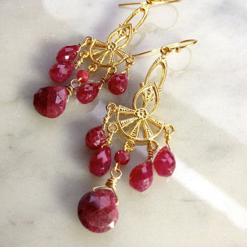 Classic Ruby Briolettes, Awesome Sale 14k GFwirewrap, Vintage fans Chandelier Earrings