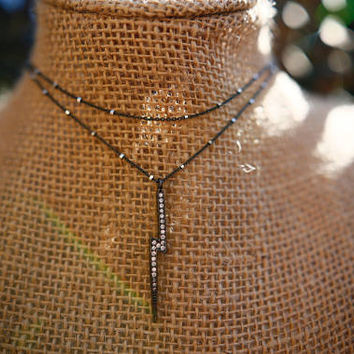 Double Wrap Pave Lightning Bolt Gunmetal Necklace