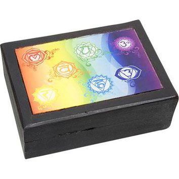 Painted Wooden Box - Flower of life