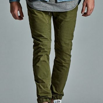 Bullhead Denim Co. Overdye Zip Slouched Skinny Jogger Pants - Mens Pants