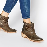 H by Hudson Rift Grey Leather Ankle Boots