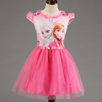 Princess Anna Elsa Snow Queen Party Dress