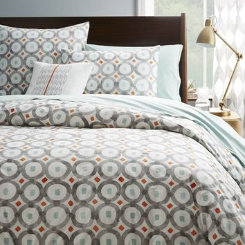 Organic Circle Trellis Duvet Cover + Shams - Feather Gray