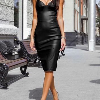 New Black PU Leather Condole Belt V-neck Skinny Party Midi Dress