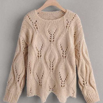 Cable Knit Hollow Out Asymmetrical Hem Sweater