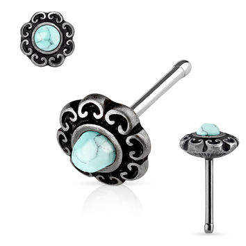 Turquoise Centered Tribal Heart Filigree Antique Plated Top 316L surgical Steel Nose Stud Rings