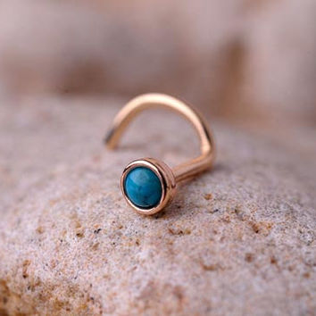 Nose Ring turquoise stone 2mm in 3mm SOLID 14K yellow GOLD. handcrafted