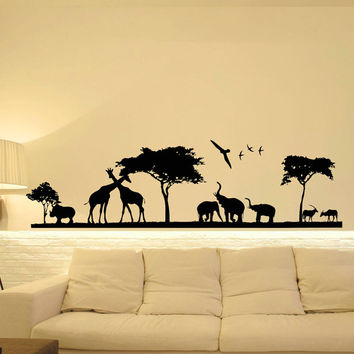 Safari Wall Decal- Jungle Wall Decal- Animal Wall Decal Stickers Safari Nursery Decor- Bedroom Nursery Living Room Wall Art Home Decor C094