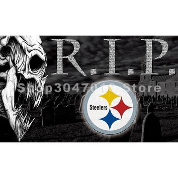 Pittsburgh Steelers championship flag 3ftx5ft Banner 100D Polyester Flag metal Grommets with skull R.I.P (REST IN PEACE) flag