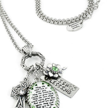 Irish Pendant - Irish Blessing Necklace - St. Patricks Day Jewelry - Celtic Cross Jewelry - Emerald Shamrocks
