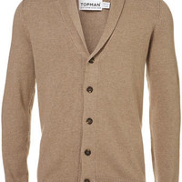 Camel Shoulder Patch Cardigan - Mens Cardigans & Sweaters  - Clothing