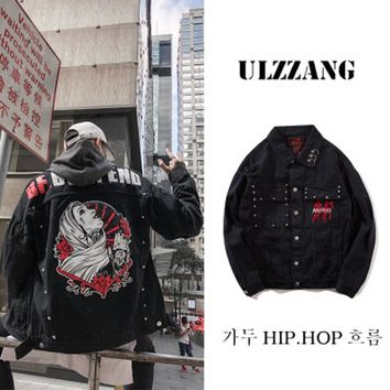Jaqueta Masculina Men's Bomber Jacket and Coat Vintage Denim Jean Hip Hop Kanye West 2018 Autumn Windbreaker Streetwear Big Size