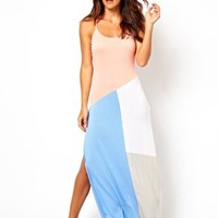 River Island Coral Alba Colour Block Beach Maxi Dress at asos.com