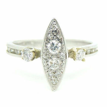 Vintage Art Deco Revival Platinum and .95 Carat Diamond Engagement Ring