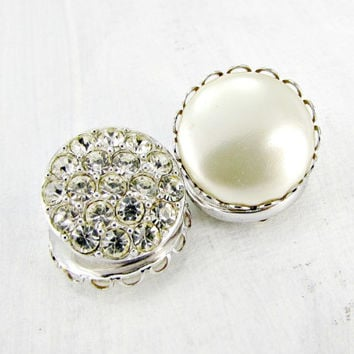 Vintage Designer SARAH COVENTRY Earrings, Reversible Rhinestone and Pearl Button Earrings, Silver Clip-On Earrings, 1950s Costume Jewelry