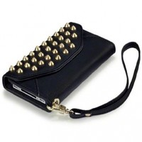 Black iPhone 4S / iPhone 4 Covert Branded Trendy Studded Rock Chic Purse Style Case / Cover / Pouch