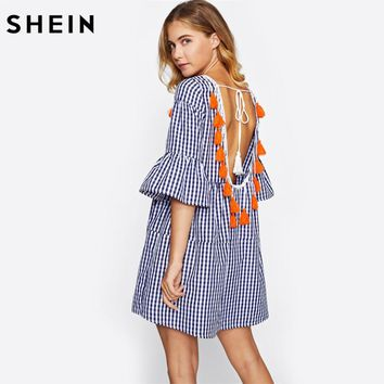 SHEIN Tassel Tied Open Back Tiered Gingham Dress Blue Plaid Straight Boho Dress Half Sleeve Drop Waist Short Dress