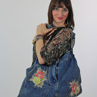 Large Blue Denim shoulder bag w painted roses + studs