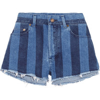 Saint Laurent - Cut-off striped stretch-denim shorts