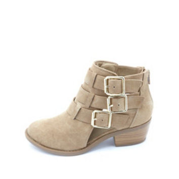 TRIPLE BELTED CUT-OUT ANKLE BOOTS