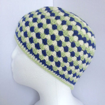 Boys Crochet Beanie. Ages 4 to 8, Granny Square Style, Green and Blue Stripe Hat, Retro Style Skullcap, Multi Coloured Hat, Boys Winter Hat