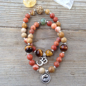 Tranquil genuine faceted natural/brown yellow jasper, tigers eye + prehnite ohm (om) yin yang pave bead stacked yoga inspired bracelet set