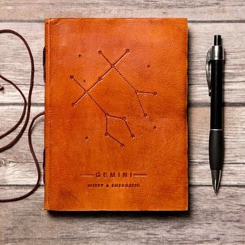 Gemini Zodiac Handmade Leather Journal
