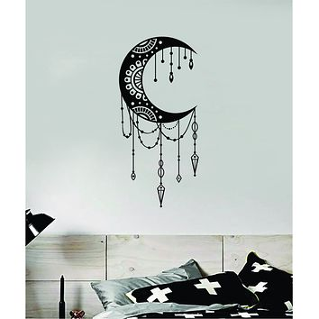 Moon Mandala V2 Art Wall Decal Sticker Vinyl Room Bedroom Decor Teen Space Geometric Dreamcatcher Boho Tattoo Flowers Girls Yoga