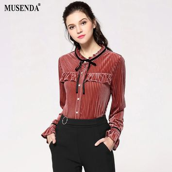 MUSENDA Plus Size Women Brick Red Ribbon Stand Collar Buttons Shirt 2018 Spring Female Office Lady Blouse Tops Clothing 4XL 5XL