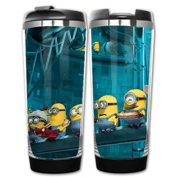 HOT SALE Despicable me 2 Minions Models Double Insulation Plastic Stainless Steel Mug Coffee Cup