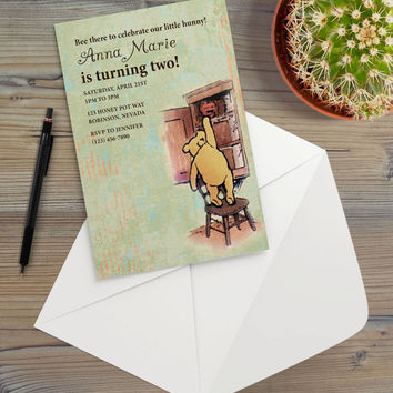 Instant Download - Classic Vintage Illustration Pooh Bear Winnie Honey Pot Birthday Rustic Cottage Chic Event Party Invitation Template
