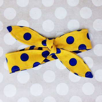 Game Day - MAIZE & BLUE Adult Dolly Bow REVERSIBLE Tie Up Headscarf Headband Bandana Hair Accessory Boho Preppy - Michigan Wolverines u of m