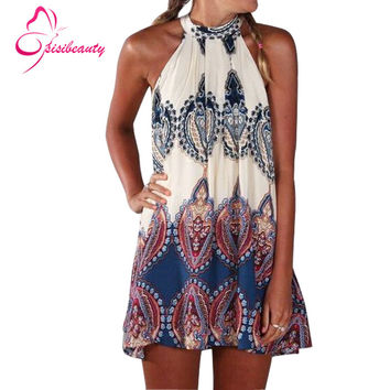 Sisibeauty 2015 New Style Casual Fashion Summer Beach Dress Loose Printed Sleeveless Halter O-Neck Sexy Mini Women Dress 9