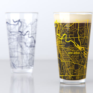 College Town Maps Drinkware - Pint Pair