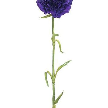 "Artificial Carnation Flower in Plum Purple - 21.5"" Tall"