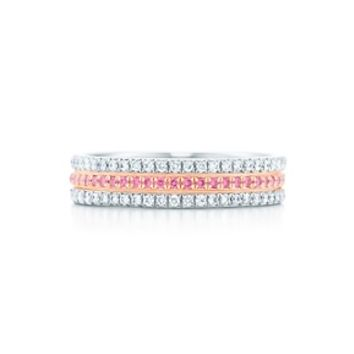 Tiffany & Co. -  Tiffany Soleste band ring in platinum with Fancy Vivid Pink diamonds.