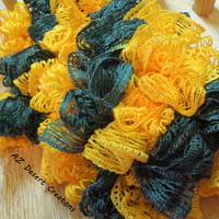 Green and Gold Ruffle Sashay Scarf Truffle Scarf Handmade Team Spirit | DesertCreations - Accessories on ArtFire