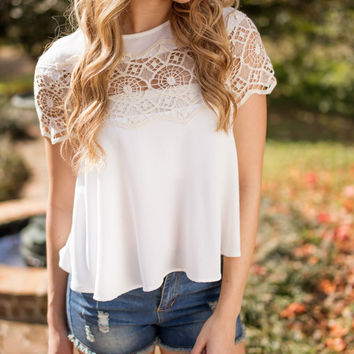 Remembering You White Cap Sleeve Top and Crochet Detail