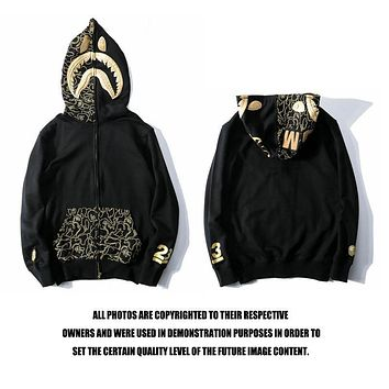 Bape Black Gold Embroidery Shark Head Pocket Printing Sweater Jacket M ~ 2xl | Best Deal Online
