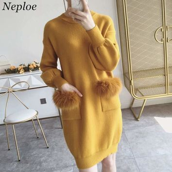Neploe Pull Femme Autumn Winter Long Sleeve Sweater Dress Faux Fur Pocket Design Knitted Pullover Causal O-neck Jumper 36300
