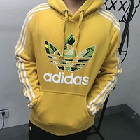 Adidas clover tide brand casual fashion couple hooded sweater F-HYLFZC Yellow